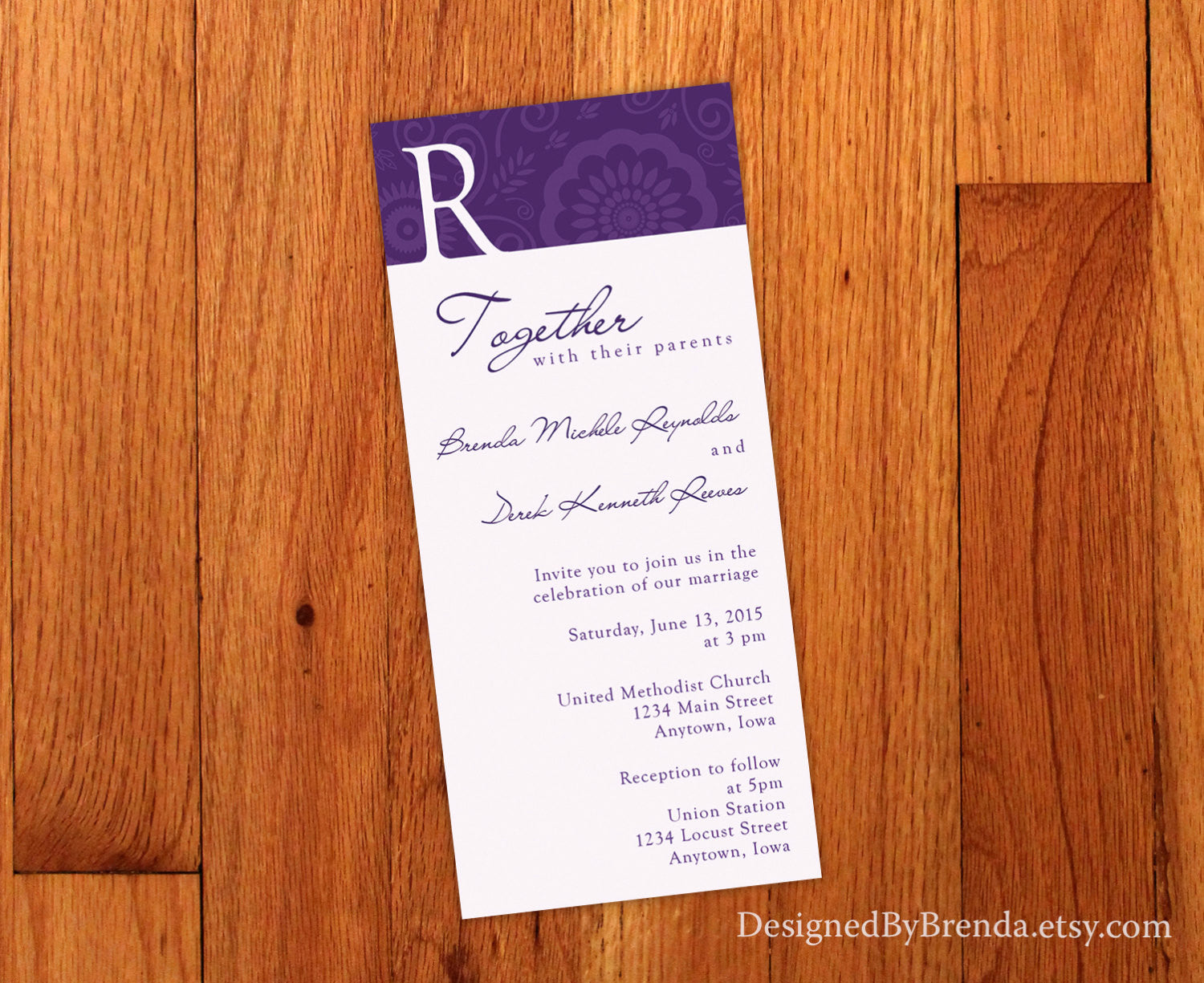 Purple Floral Wedding Invitation with Letter Initial - Whimsical Custom Design