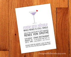 Bachelorette Party or Wedding Shower Invitation with Wine or Martini Glass - Girls Night Out