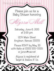 Pink Stripes and Black & White Damask Baby or Bridal Shower Invitation