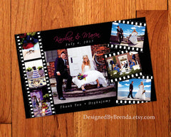 Large Wedding Thank You Card with Filmstrip Photo Collage