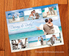 Wedding Thank You Card with Photo Collage - Great for Destination Wedding