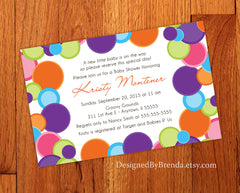 Large Bridal or Baby Shower Invitations with Colorful Circles - Neutral Colors