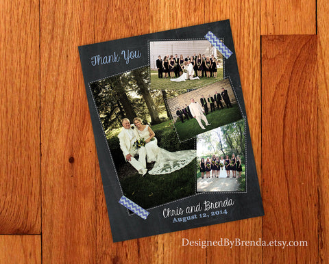Chalkboard Style Wedding Thank You with 4 Photos - Fun, Shabby Chic Look