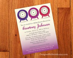 Around the Clock / Time of Day Baby or Briday Shower Invitation - Pink & Purple Ombre