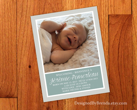 Bilingual Birth Announcement Card with Large Photo - Gender Neutral with Gray & Green