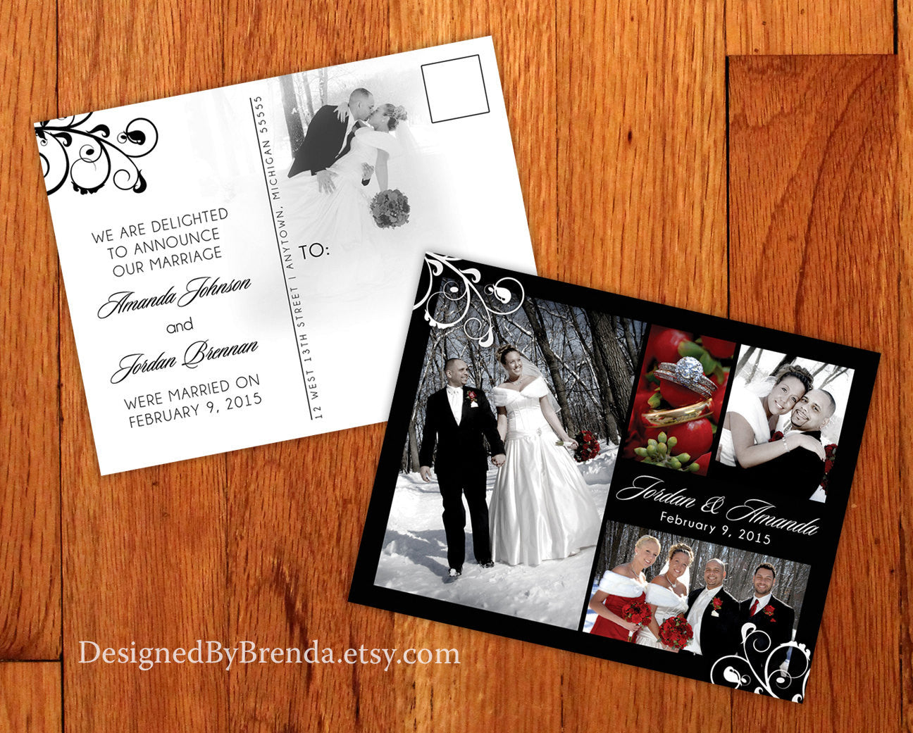 elegant wedding announcement postcard black white designed by