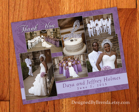 Elegant Wedding Thank You Card with Multi Photo Collage - Damask Background