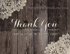 Rustic Barnwood and Vintage Lace Folded Thank You Card