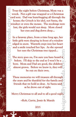 Red & White Snowflake Holiday Card with Large Photo - Double Sided with Christmas Letter on Back