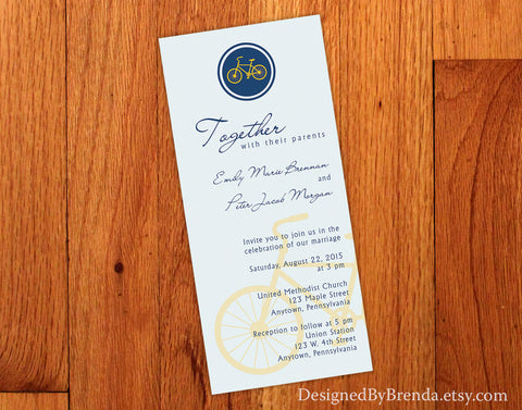 Bicycle Wedding Invitation - Navy and Yellow can be any colors - Long and Skinny