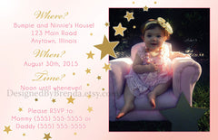 Large Double Sided Birthday Invitation with Blended Photo Collage - Pink & Gold Stars for Little Girl