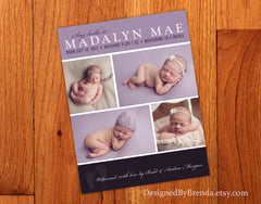 Vertical Birth Announcement with 4 Photo Collage - Shades of Purple & Baby Footprints