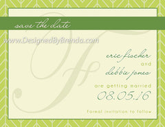 Monogram Save the Date Card on Modern Herringbone Chevron Background - Any colors