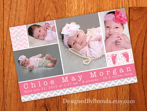 Cute Pink & Grey Chevron Birth Announcement with Photos and Letter Monogram