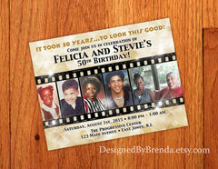 Flashy Gold Birthday Party Invitation with Filmstrip Photo Collage - Any age or anniversary