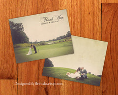 Double Sided Vintage Style Thank You Card - Rustic Pictures on Both Sides