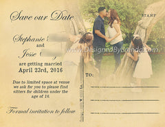 Rustic Save the Date with Photos - Vintage Scroll Font with Kraft look