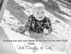 Modern Holiday Photo Card - It's the Most Wonderful Time of the Year! - Red, Grey & White