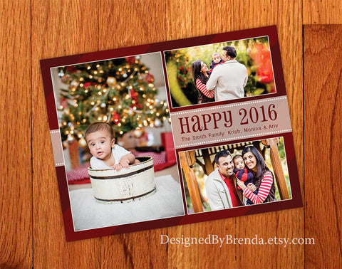 Red Happy New Year Photo Card - Fun, Modern Feel