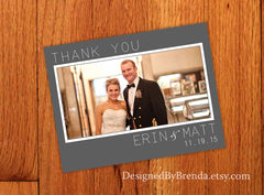 Modern Wedding Thank You with Large Photo on Grey & White Background