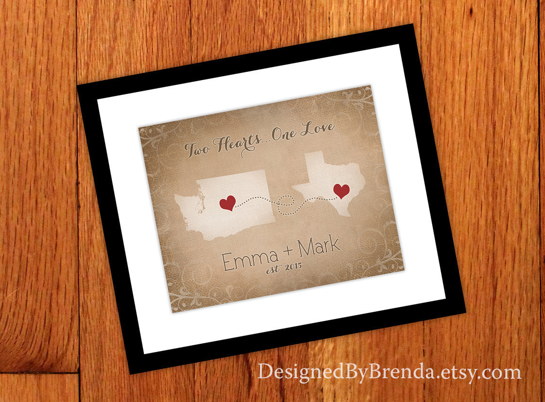 Rustic Print with Two States and Hearts in Personalized Locations - Vintage Burlap Look