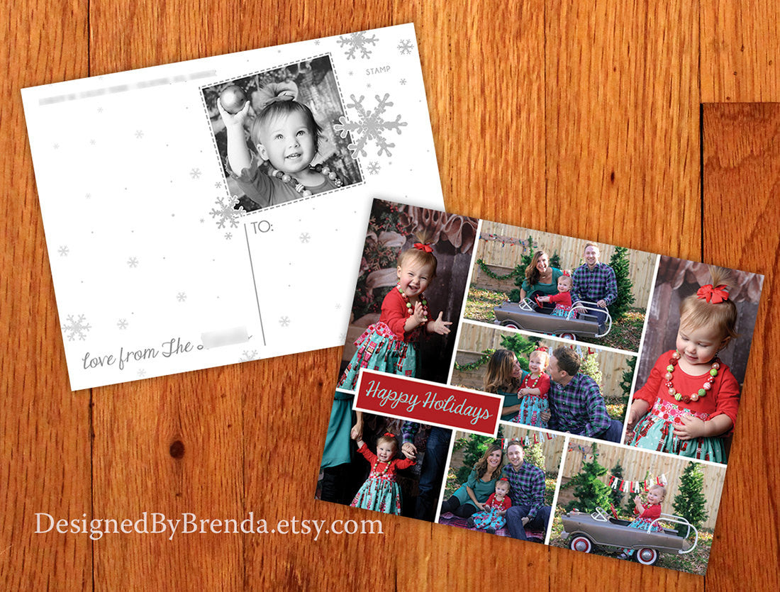Modern Christmas Postcard with Multiple Photo Collage - Double Sided