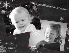 Double Sided Christmas Card with Fun Photos on Chalkboard Background and White Snowflakes