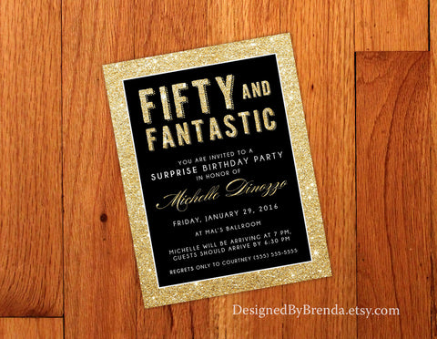 Fifty and Fantastic Birthday Invitation - Gold Glitter & Black Anniversary - 50th Surprise Party