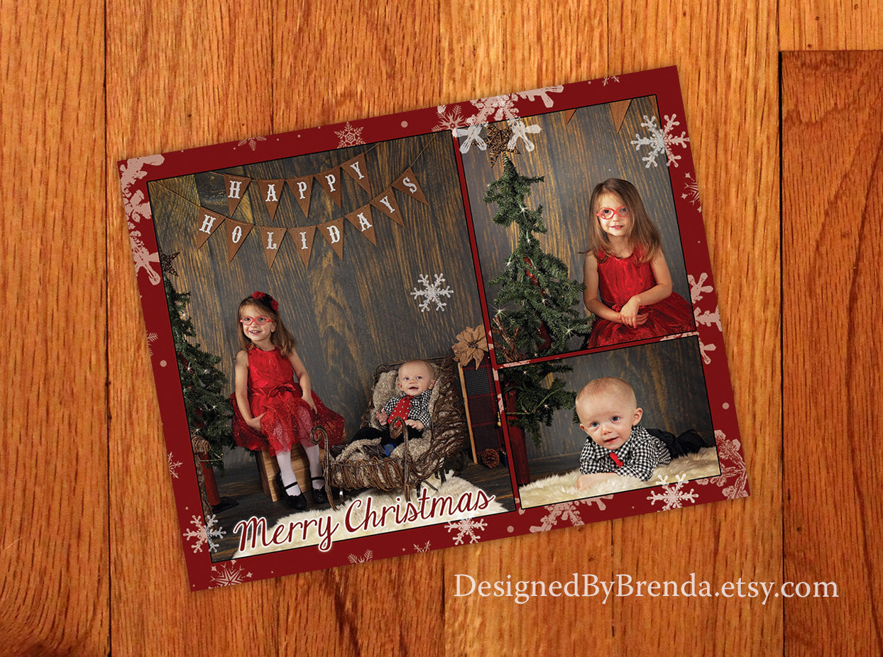 Christmas Card with Photos - White Snowflakes on Red Background - Winter Feel