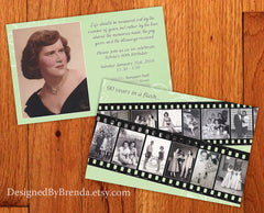 Birthday Party Invitation with Filmstrip Photo Collage - Vintage Purple Floral
