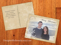 Vintage Style Holiday Postcard with Postmark and Rustic Photo
