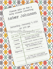 Library Card Baby Shower Invitation on Colorful Pastel Argyle Print with Vintage Flair