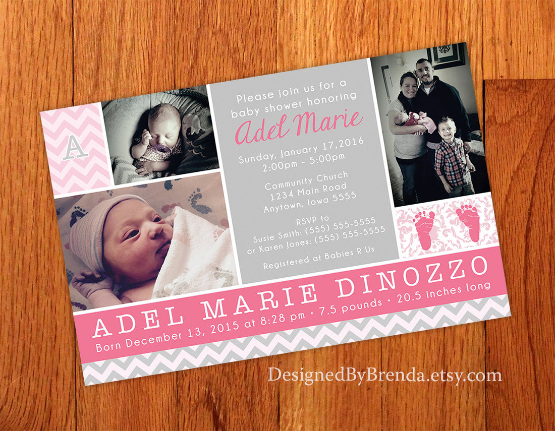 Combined Birth Announcement and Baby Shower Invitation with Photos - Pink & Gray