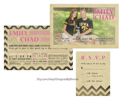 Vintage Style Wedding Invitation with Rustic Photo - Double Sided with Chevron Pattern