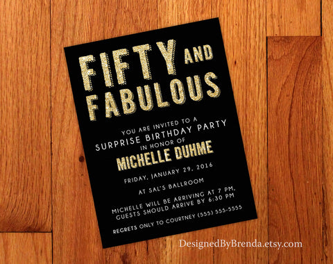 Fifty and Fabulous Birthday Invitation - Black & Gold Bling - 50th Anniversary or Any Age B-Day