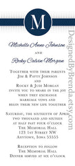 Navy & White Wedding Invitation with Monogram Letter Initial - Modern, Clean Lines - Long & Skinny