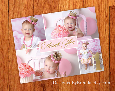 Pink & Gold Birthday Thank You Postcard with Photos - Cute, Custom look for Little Girl's First Birthday