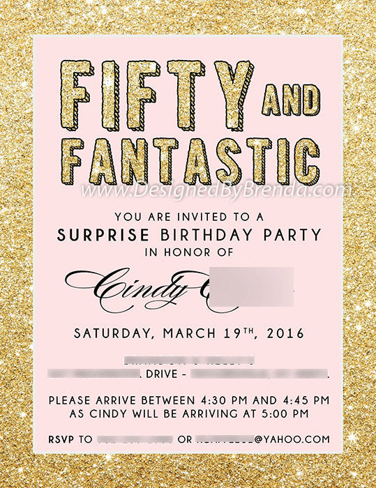 50 fantastic surprise birthday invitation gold black designed by fifty and fantastic birthday invitation gold glitter black anniversary 50th surprise party filmwisefo