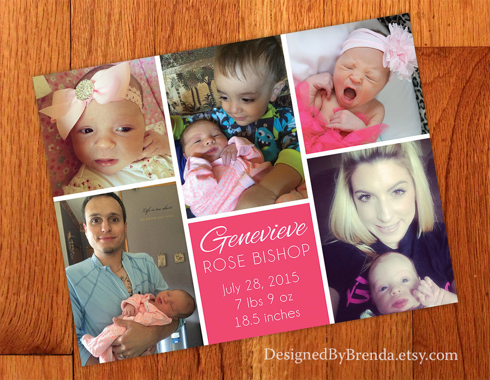 Modern Birth Announcement with 5 Photos - Pink for Baby Girl with Clean Lines