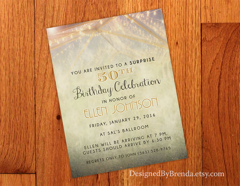 Vintage Style Birthday Invitation - Rustic with Garden Party Feel