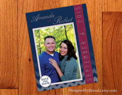 Fun Save the Date Card with Photo on Chevron Background - Pink & Navy