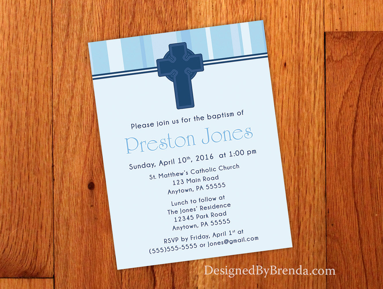 Shades of Blue Invitation with Cross - Baptism, First Communion or Confirmation