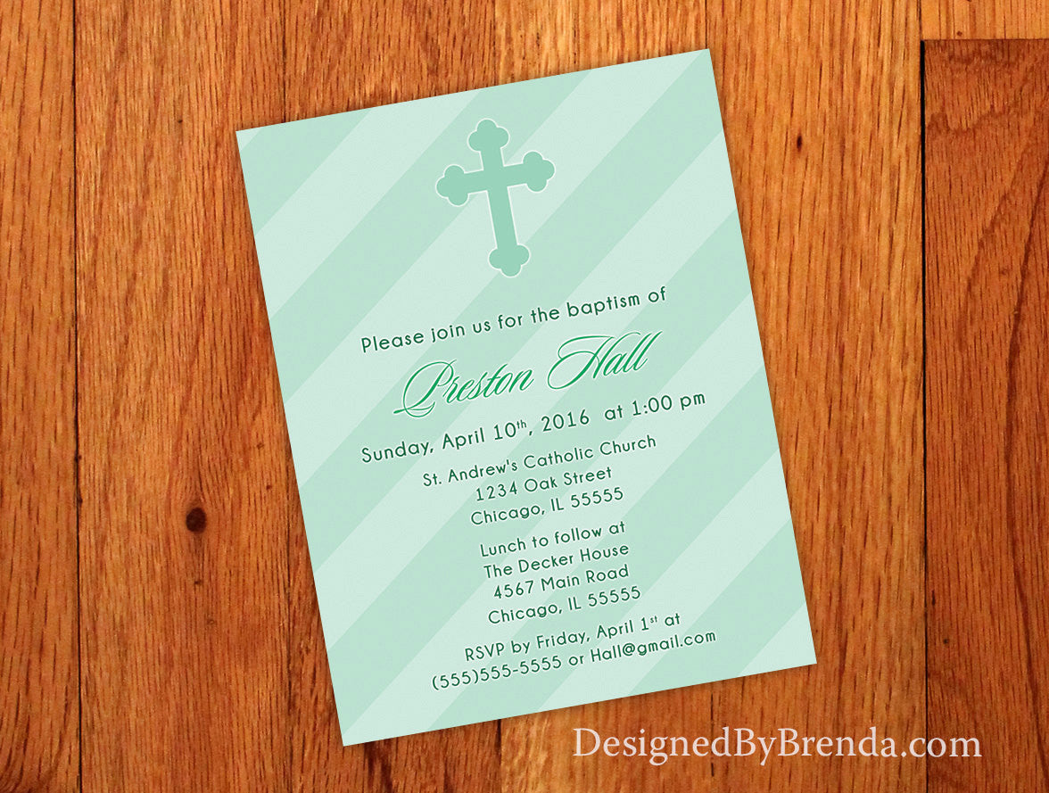 Modern Baptism Invitation with Christian Cross - Mint Green can be any color