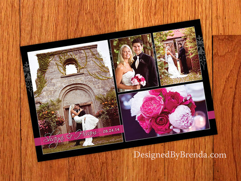 Pink and Black Wedding Thank You with Photos on Elegant Lace Damask Background