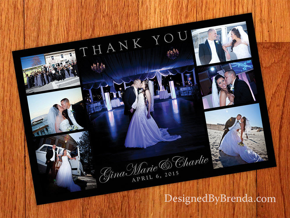 Sleek Black Wedding Thank You Card with 7 Photos - Contemporary Look