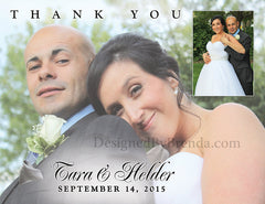 Elegant Wedding Thank You Card with Two Photos - Simple & Modern