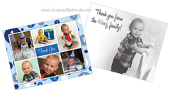 Blue Polka Dot Thank You Card with Photos & Printed Message - Perfect for First Birthday