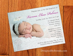 Unique Baptism Invitation with Large Photo and Ornate Cross