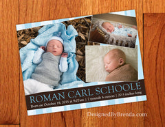 Brown & Blue Birth Announcement Card with 3 Photos - Double Sided