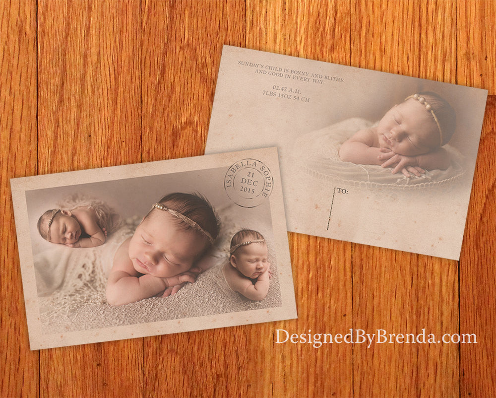 Vintage Style Baby Announcement with Photos and Rustic Postmark - Unique